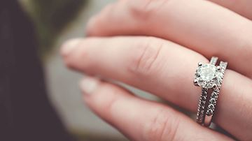 Womans hand with wedding ring on finger
