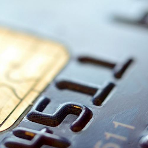 Close up of black credit card