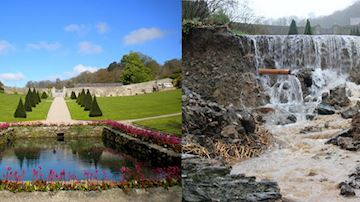 Before and after flooding at Plas Cadnant Estate