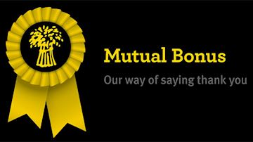 "Mutual Bonus rosette with the words ""Mutual Bonus - Our way to say thank you"""