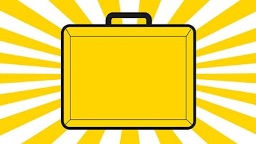 Yellow Chancellor's briefcase on white and yellow background