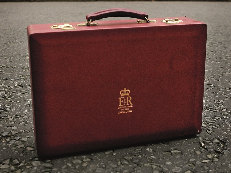 Chancellor's briefcase outside number 11 Downing Street