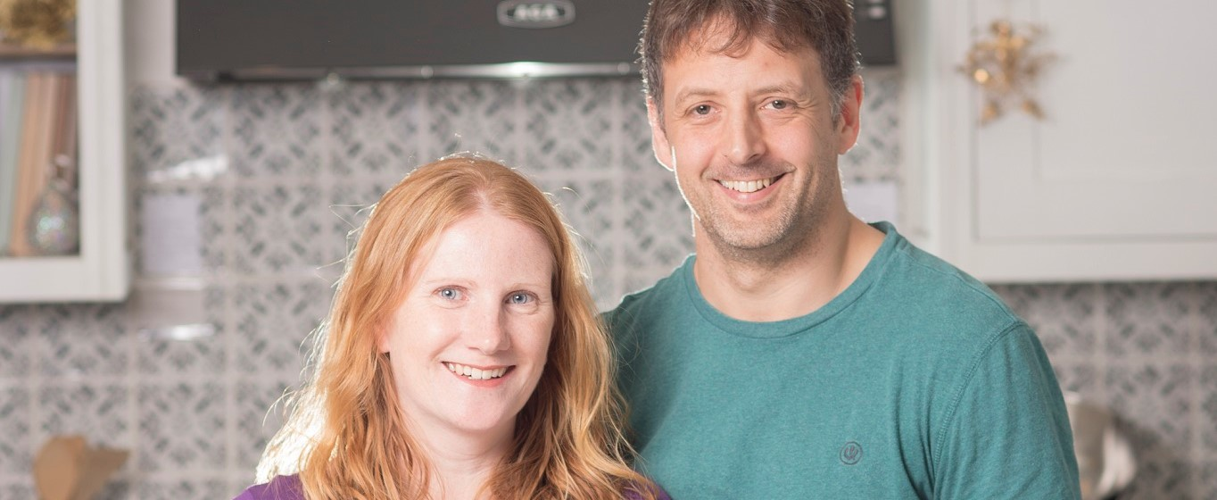 Jo and Richie Evans, owners of Figgy Puddings, in their kitchen